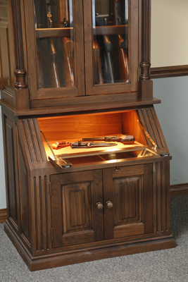 The Lower Unit Features A Door Lock To Protect Your Pistol And Knife  Collection. Both Upper And Lower Gun Cabinet Sections Feature Touch LED  Lighting.