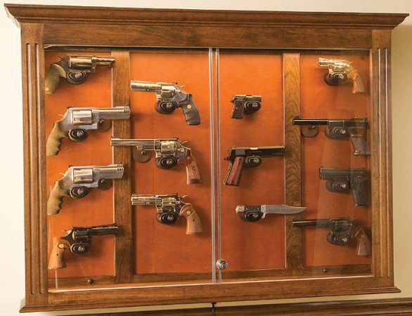 Custom Gun Cabinets and GunSafes - Wall Hanging Pistol Dispaly