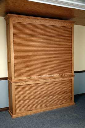 Bottom Roll Top Closed Both Doors On Oak Gun Cabinet